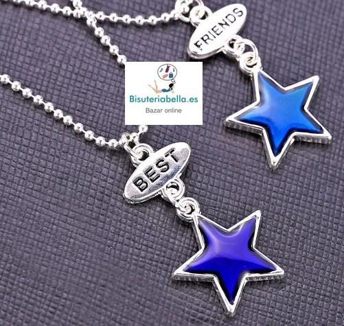 Colgantes plateados separados Estrellas pequeñas azuladas