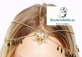 Diadema Capilar dorada cadenas en forma de estrella y flor