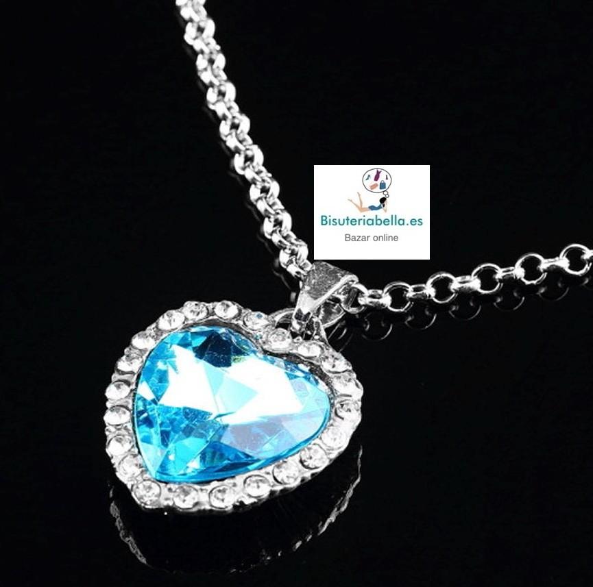 Colgante plateado corazon azul turquesa diamante,mediano con brillantitos blancos