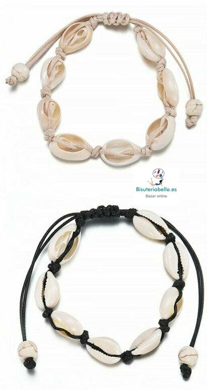 Pulsera conchas naturales a elegir cordón