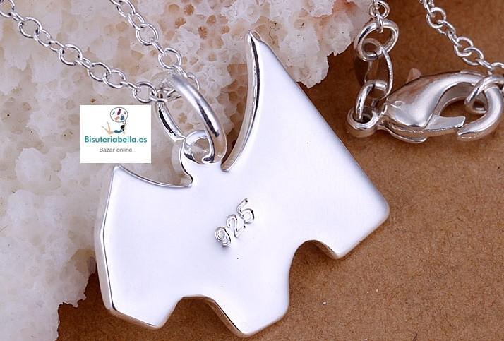 Colgante chapado en plata fino y elegante Silueta Perro