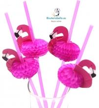Lote 10 Pajitas Flamencos Rosas para Eventos