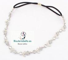 Diadema plateada estilo floral boda cristalitos ajustable