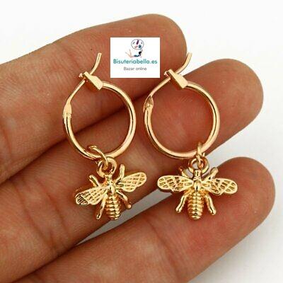 Pendientes aros dorados pequeños con abejas