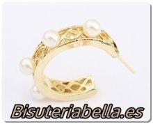 Pendientes aros abiertos pequeños dorados con perlitas blancas