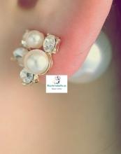 Pendientes dobles perlas y brillantitos blancos