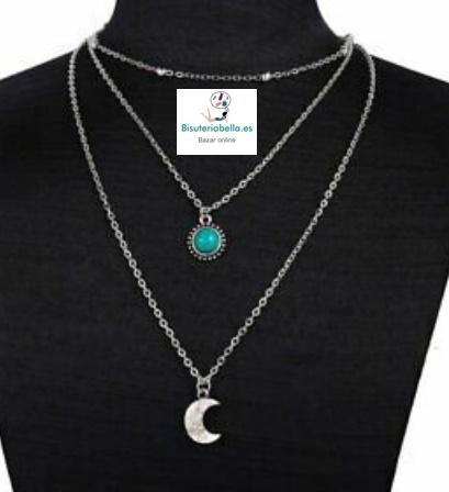 Multi- colgantes plateados turquesa y luna