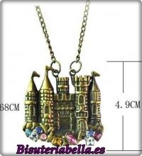 Colgante bronce Castillo Tridimensional fantasia colores