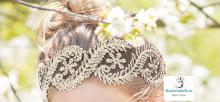 Diadema ajustable encaje floral a elegir