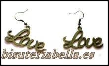 Pendientes bronce letras LOVE meadianos