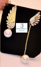 Par de Pendientes Dorados Alas angel,doble con perlas