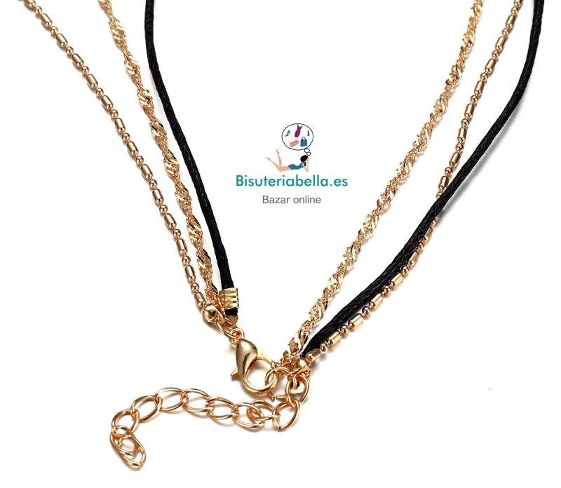 Gargantilla Multi-colgante 2 cadenas y cordon estrella