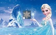 Broche Replica Frozen plateado copo de nieve con brillantitos