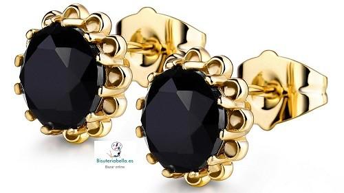 Pendientes Chapados Oro redondos Negros