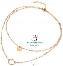 Multi-colgante 2 cadenas doradas,colgantes a elegir