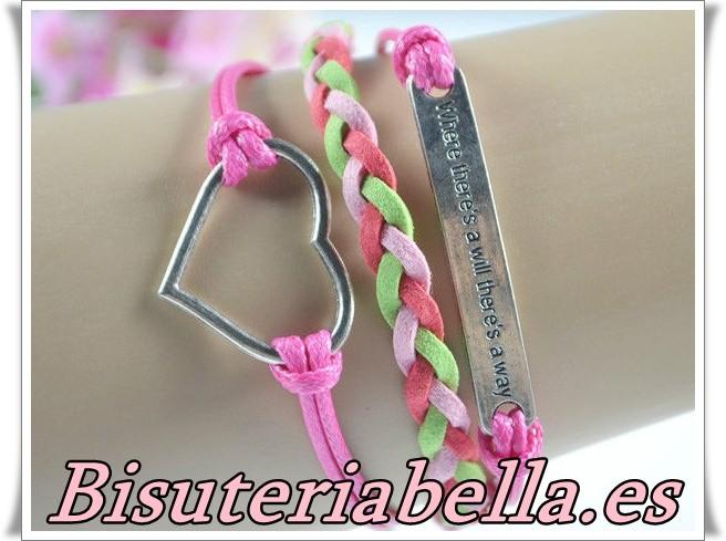Pulsera 3 en 1 rosa,verde,rosa fuerte&corazon cuerda