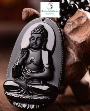 Colgante Buda Meditando Mano hacia arriba natural Piedra Obsidiana Negro
