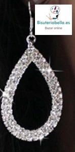 Pendientes Chapados en plata Lagrima con brillantitos
