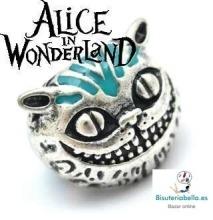 Anillo plateado gato Alicia en el Pais de las Maravillas sonrisa con detalles azules T.7