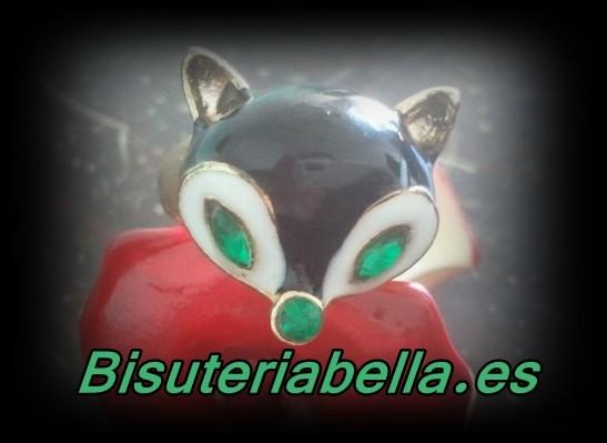 Anillo Zorrito dorado verde, blanco y negro  con brillantitos T.6