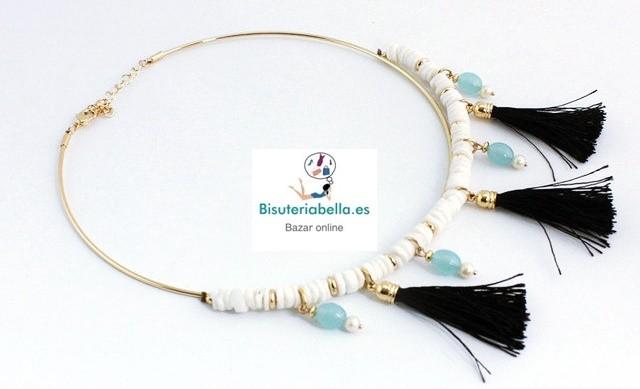 Gargantilla Chapada en Oro,Borlas,piedras blancas y cuarzos