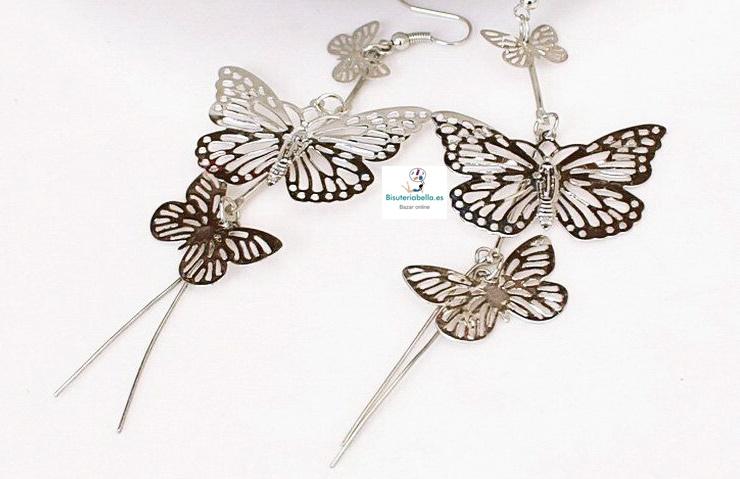 Pendientes Triples Mariposa Finos y largos con detalles, a elegir