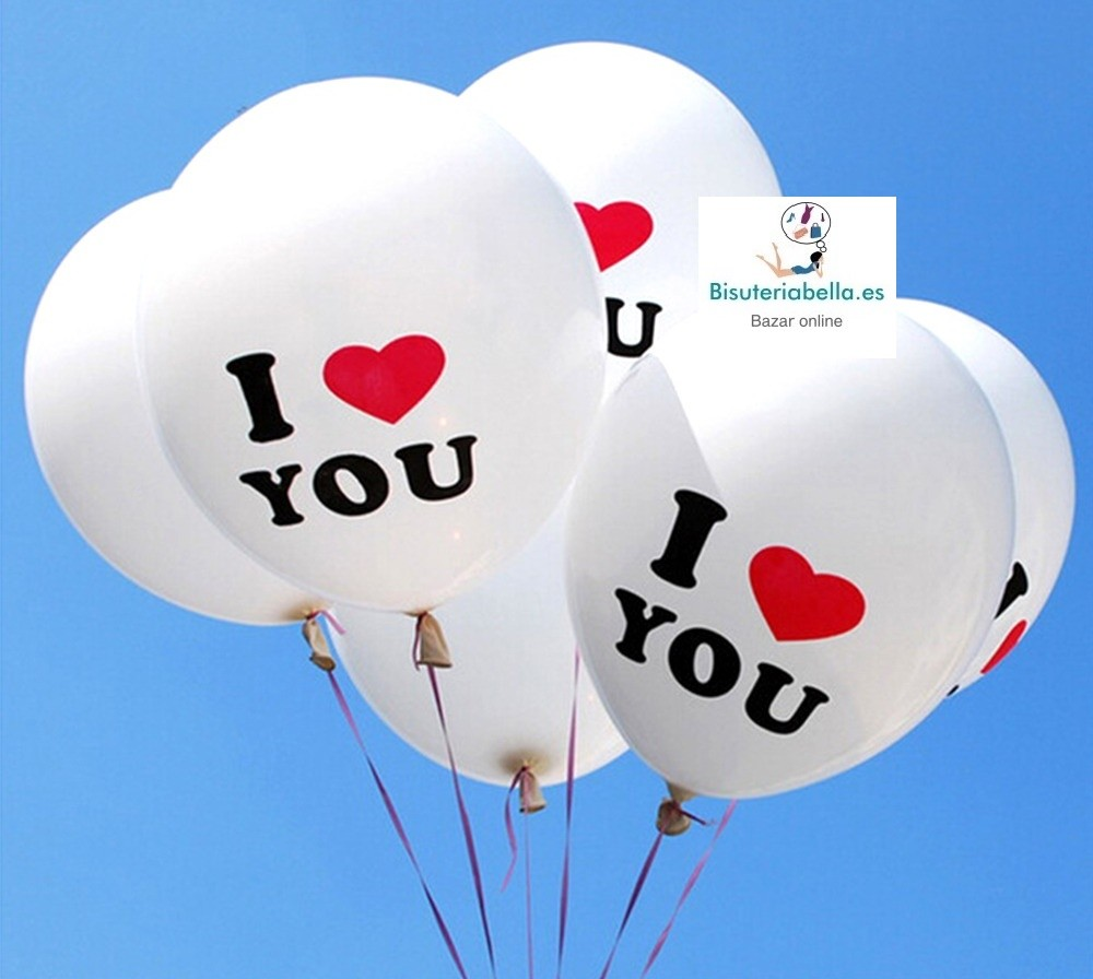 Globos Blancos Letras I love You corazon