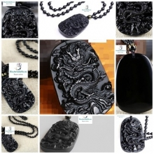 Colgante Dragon natural Piedra Obsidiana Negro