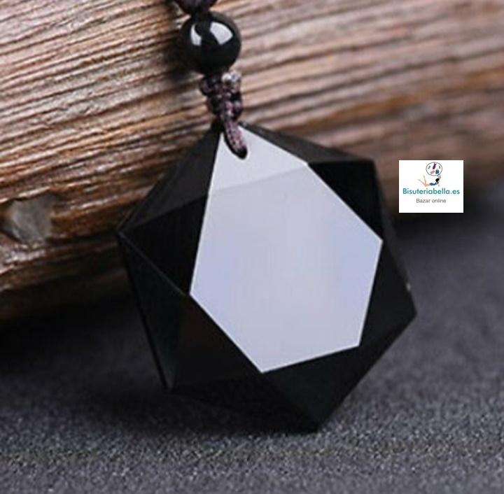 Colgante hexagrama cordón y piedra obsidiana