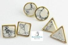 Pendientes Diferentes formas Blanco Marmol Chapados Oro