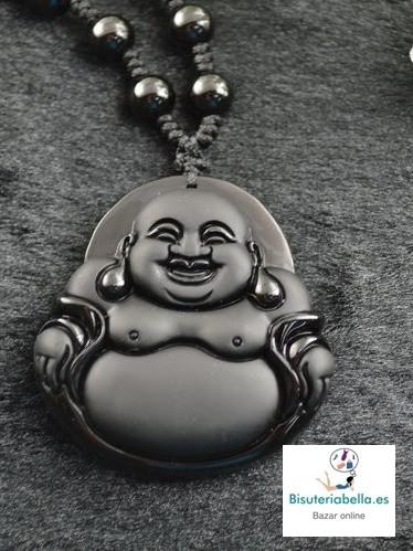 Colgante Buda Sonriendo natural Piedra Obsidiana Negro