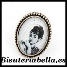 Anillo Audrey Hepburn Bronce blanco y negro Talla 7