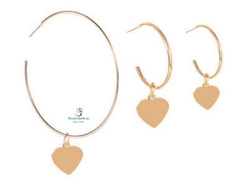 Set 3 pendientes dorados diferentes con corazónes