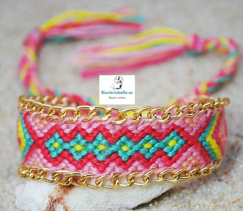 Pulsera Cordones de Colores Trenzada,cadenas a elegir