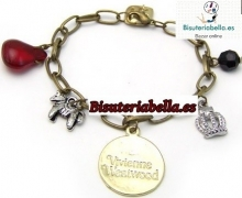 Pulsera Bronce abalorios Chapa Vivienne Westwood(dorada) ajustable