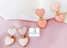 Pendientes dorados corazones dobles pequeños