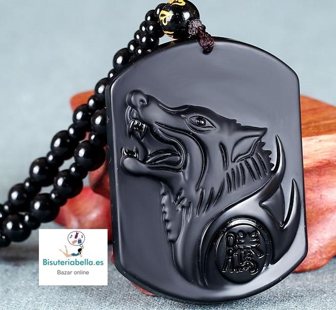 Colgante Lobo Aullando natural Piedra Obsidiana Negro