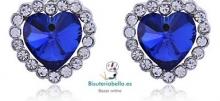 Pendientes plateados con brillantitos blancos y piedra azul rosca
