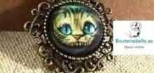 Colgante en bronce largo con foto gato Alicia (camafeo)