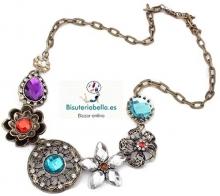 Collar Bronce con abalorios florales y lagrimas colores,para sentirte una reina