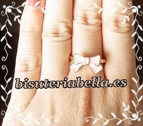 Set 2 anillos seta + lacito rosa y blanco dorados Talla 6