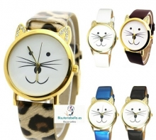 Relojes a elegir varios colores esfera gatito sonriente con brillantitos alrededor