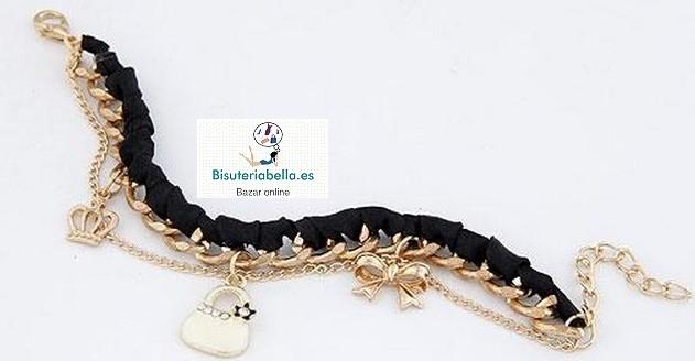 Pulsera dorada eslabones cinta trenzada negra,abalorios