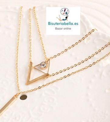 Multi-colgante 3 cadenas doradas,colgantes a elegir