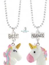 Colgante plateado doble cadena 2 mitades Cabeza Unicornios amistad