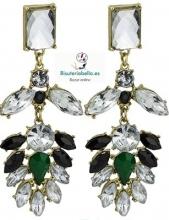 Pendientes medianos largos cristalitos blancos,verdes,tonos y florales en bronce