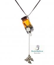 Colgante ante marron y abalorio frasco detalles marrones y bronce floral