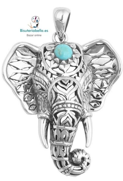 Colgante plateado fino Elefante con detalles Turquesas