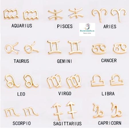Pendientes pequeños dorados Silueta Simbolo Horoscopos