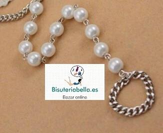 Tobillera-anillo pie plateada perlas blancas